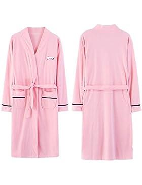 Bearony Suave Par de Moda otoño Invierno Manga Larga algodón Albornoz Pijamas Albornoz (Color : Pink, tamaño :...