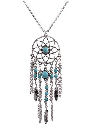 STRASS & PAILLETTES - Collar con Colgante atrapasueños, Color Plata con Perlas Turquesa con Cadena