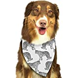 Hipiyoled Black and White Tigers Adjustbable Collars Pet Bandana Bibs for Puppy Cats