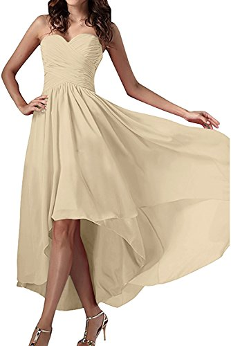 Ivydressing Damen Einfach Herzform Abendkleider Chiffon Festkleid Ballkleid Partykleid Champagner