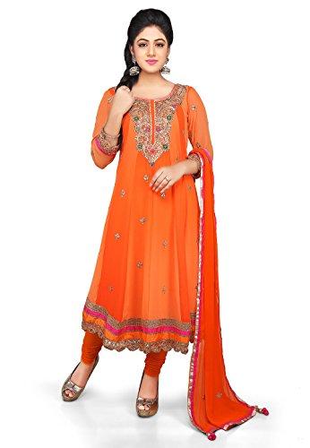 Utsav Fashion Embroidered Georgette Anarkali Suit in Orange Colour