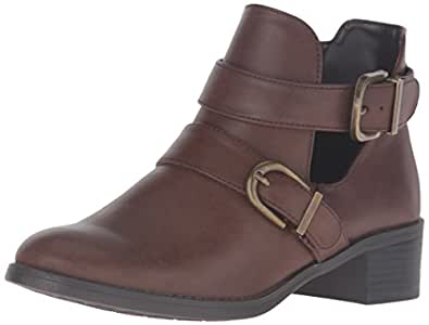 Easy Street Women's Badge Ankle Bootie, Brown Burnished, 6 M US