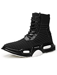 Diariamente para hombre Zapatillas altas Zapato largo Plataforma elástica Tejido de vuelo informal Aumento Calcetines altos