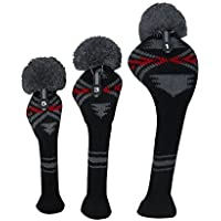 Grey Red Black Abstract Pattern Knitted Golf Headcovers Set