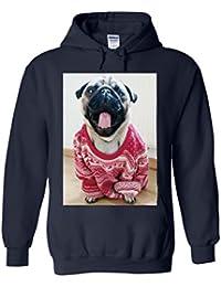 Pug Christmas Jumper Funny Novelty White Femme Homme Men Women Unisex Sweat à Capuche Hooded Sweatshirt Hoodie