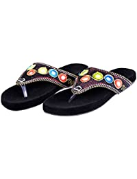 Women Resham & Zari Work Fancy Comfortable Velvet Flat Slipper