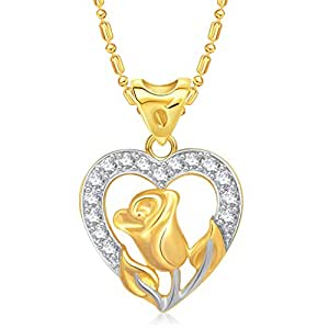 Vk Jewels Valentine Heart Collection Gold Brass Alloy Cz American Diamond Pendant for Women Vkp1443G