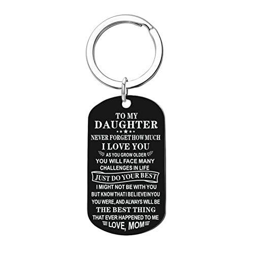 AueDsa Schlüsselbund Damen Herren Edelstahl Schwarz Dog Tag mit Gravur to My Daughter.Love, MOM