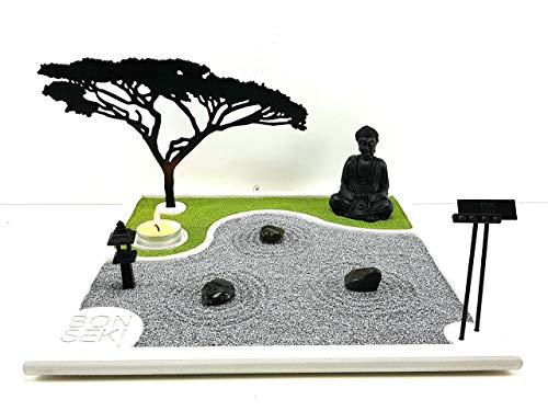 Bonseki Giardino Zen da tavolo 30 x 30 in legno, proietta l'ombra del bonsai sulla parete, personalizzabile.