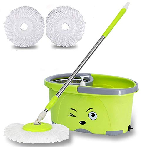 Amore Mop Bucket Magic Spin Mop Bucket Double Drive Hand Pressure With Free Microfiber Mop Head Household Floor Cleaning Pocha(Color May Vary)