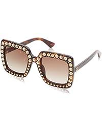 Gucci Damen Sonnenbrille GG0148S 002, Braun (Avana/Brown), 53