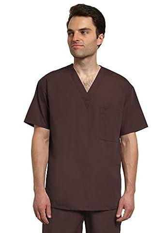 Adar Mens V Neck Tunic Top 1 Pocket Medical Hospital Nurse Scrub - 6011 - Chocolate Brown - 2X