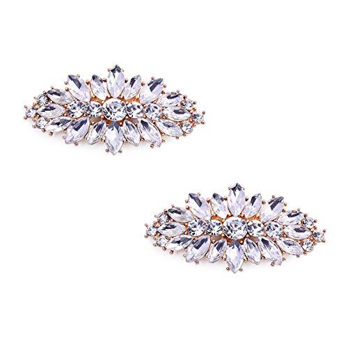 Elegantpark AW Damen Party Schmuck Schuhe Accessoires Clutch Tasche Hut Kleider Blatt Strass clips 2 Stück Gold -