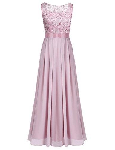 iixpin Damen Vintage Maxi-Spitzenkleid Elegant Brautjungfer Abendkleider Chiffon Hochzeit Festliche Kleider Cocktailkleid Dusty Rose 46 -
