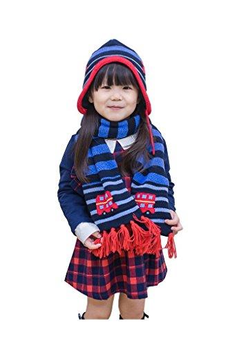 Cute Lovely Baby per bambini invernale Cappello Sciarpa Set Pomp Pomp con auto Pattern Car (Patterns Knit Bambini Cappelli)