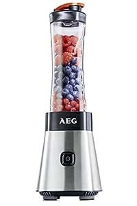 AEG SB2500 Standmixer (300 Watt, Vier-Klingen-Edelstahlmesser) inkl. 2x 0,6 Liter BPA-freie Trinkflaschen Grau