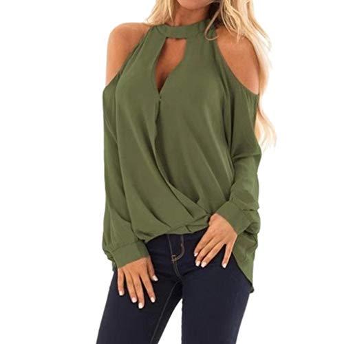 Kostüm Top Jacke Zz - ESAILQ Frau Mode V-Ausschnitt Schulterfrei Langarm T-Shirt Tops Bluse(XX-Large,Grün)