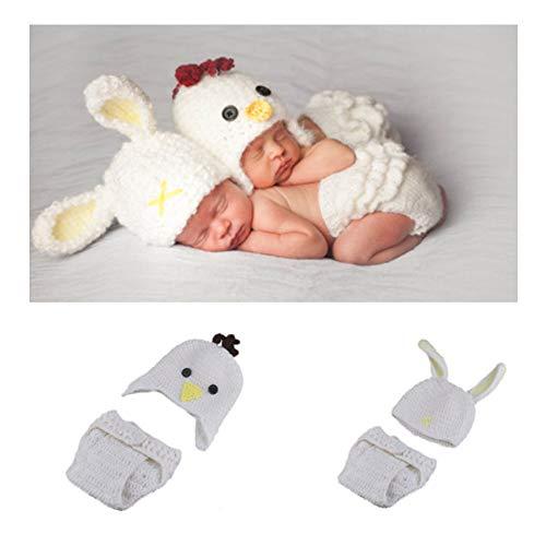 Kostüm Twin Baby - NROCF Osterhasen Küken Baby Fotografie Kostüm, Twin Baby Fotografie Requisiten, Neugeborenen Hand Stricken Set