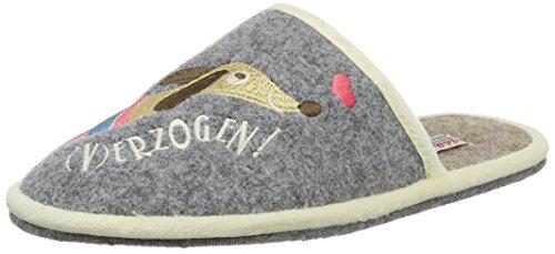 Adelheid - Gut (V)erzogen Filzpantoffel, Pantofole Donna Grigio (Grau (mausgrau / 940))