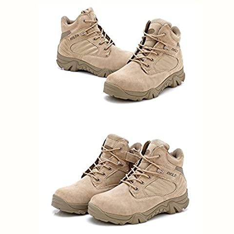Men Military Army Tactical Outdoor Sports Camping Hiking Work Combat Lace Up Breathable Low Top Side Zipper Desert Leather Shoes Boots DE Tan Khaki (UK8=EUR42=US9)
