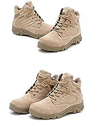 Hombre Militar de Tactical Deportes al aire libre de senderismo trabajo Combat Lace Up transpirable zapatos de cremallera en la parte superior Desert Piel Bajo Botas de Tan Caqui, caqui