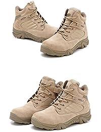 Botas militares tácticas para hombre, ideales para el campo, senderismo, trabajo y combate. Transpirables, con cordones, bajas, con cremallera lateral, color marrón caqui, caqui, UK7=EUR41=US8