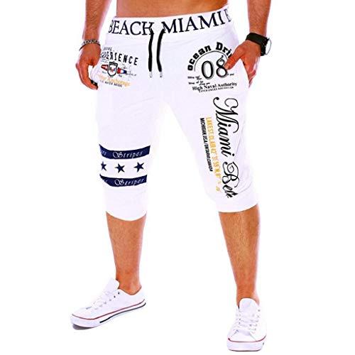 Pantalones Cortos Hombre Verano 2019 Nuevo SHOBDW Casual Impresión de Letras Pantalones Hombre Chandal...