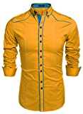 Coofandy Men's Button Down Dress Shirts Casual Slim Fit Shirts (Medium, Yellow)