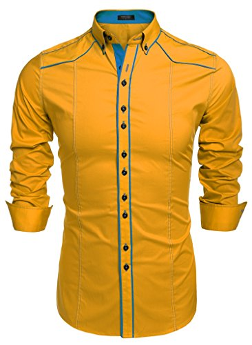 Coofandy camicie uomini casual cotone manica lunga colletto dritto button down giallo m