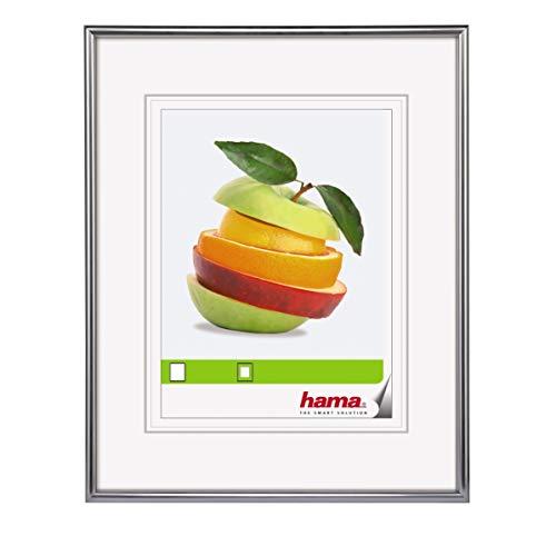 Hama Bilderrahmen Sevilla (20 x 30 cm, mit Passepartout 13 x 18 cm, hochwertiges Glas, Kunststoff Rahmen, zum Aufhängen) silber -