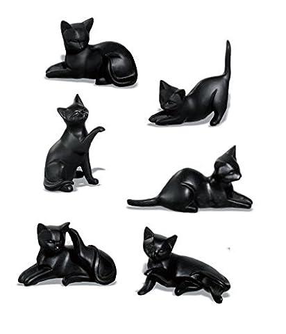 Lot de 6 décorations en forme de chat Noir