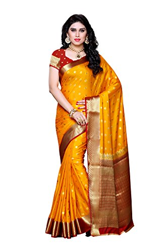Mimosa Women's Traditional Crepe Silk Saree Kanjivaram Style With Blouse Color:Gold(3312-2087-GLD-MRN )