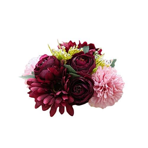 Sommer's Laden Unechte Blumen,Künstliche Blume Deko Blumen Gefälschte Blumen Gerbera-Hortensie Home Dekor Braut Hochzeitsblumenstrauß Für Haus Garten Party Blumenschmuck Restaurantdekoration