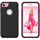 IPhone 7 IPhone 8 Case Cover Codream Durable Shock-Absorption Protective Case Surface Ultra Impact Bumper Cover Slim Hybrid TPU Cases For IPhone 7 IPhone 8 (Black-Rosy)