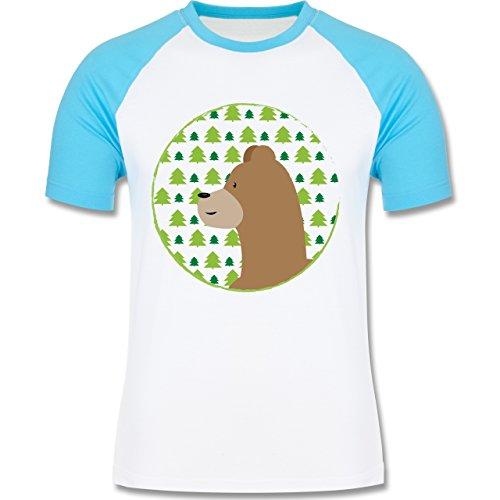 Wildnis - Tiermotiv Bär - zweifarbiges Baseballshirt für Männer Weiß/Türkis
