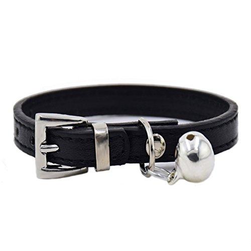 Klassische Hundehalsband PU Leder Halsbänder mit Glocke 1.0cm Breit 17-28cm Halsumfang XXS XS für kleine Hunde Welpen Katze, Schwarz XXS