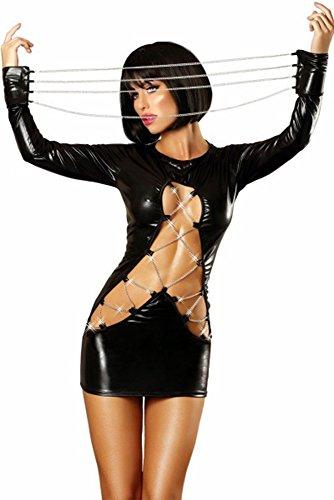 XSQR Sexy Wetlook Minikleid Kleid Leder Lack Clubwear Fetisch Party Dress Patent Leather Pole Dance - Patent-korsett-kleid