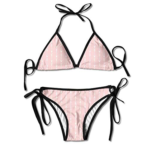 Rose Print Bikini Bottom (Hipiyoled Women's Tie Side Bottom Triangle Bikini Swimsuits for Arrows Southwest Paste Pink Pantone Rose Quartz Wa Flower Print)