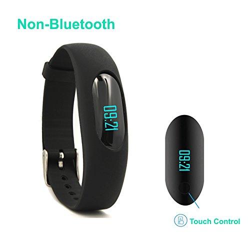 Bracciale con funzione pedometro, AsiaLONG Non-Bluetooth impermeabile, IP64 Orologio da polso con Touch Screen, con rilevatore Calorie, monitoraggio sanitario, Display data, distanza Fitness per attività sportiva, da donna, per Sport, corsa, uomo