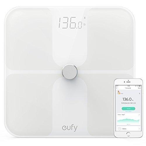 Eufy BodySense Bascula Bluetooth 4.0, bascula baño grasa corporal, con pantalla LED grande, peso/grasa corporal/BMI / Fitness Body (analisis corporal)