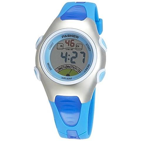 PASNEW PSE-219 Waterproof Children Boys Girls LED Digital Sports Watch with Date /Alarm /Stopwatch (Blue)