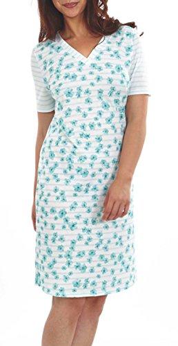 Graziella Nachthemd Theodora 100 cm lang Sleepshirt mit V-Ausschnitt 46/48 Nachtwäsche 100% Baumwolle (Sleep-pants Muster Baumwolle)