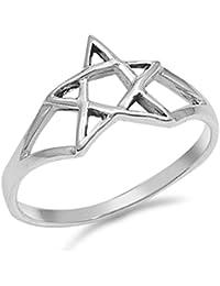 Anillo de plata de ley estrella judía