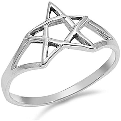 Sterling Silver Star anello ebraica