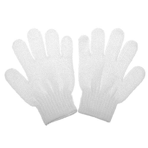1 Paar Peeling Badhandschuh Dusche Hautpflege Wäscher Massage Sauber Handschuh Peelinghandschuh - Weiß