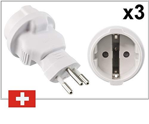 DINIC Reiseadapter, Stromadapter für die Schweiz, 3-Pin CH Adapter mit Sicherung (3 Stück, weiß)