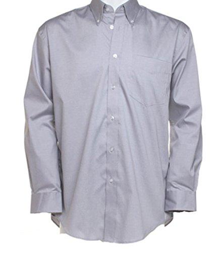 Neue Men's Kustom Kit Corporate Hemd Oxford Langarm-Shirt, für Erwachsene, formell Grau - Silbergrau