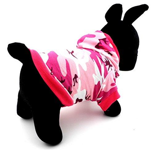 zunea Kleiner Hund Kleidung für weiblich Sommer Camo Muster Shirt Hoodie Jumper Pink