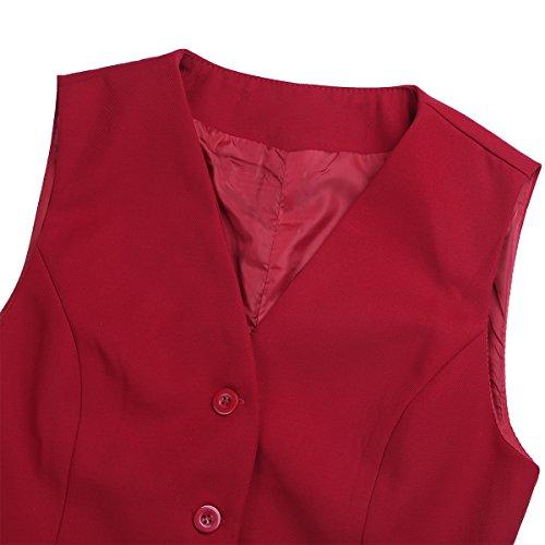 TiaoBug Femme Gilet Veste sans Manches Tailleurs Formelle Top Débardeur Caparaçon Haut Vêtement de Travail Gilet de Bal Hôtel Clubwear S-2XL Rouge