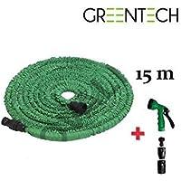Greentech Manguera de jardín retráctil 15m + pistola 7chorros + 2Juntas Elast o + puntas empalme Universal
